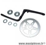 Pédalier BMX monobloc 44 dents argent / manivelle noir (ensemble avec cuvettes) d1/2 - Accessoire Vélo Pas Cher * Prix spécial !