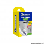 Chambre à air Michelin AirComp Latex 700x22 à 23C-622 valve A1 Presta 60mm 82g