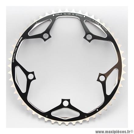 Plateau 52 dents horus diamètre 135mm extérieur noir marque Spécialités TA - Pièce vélo