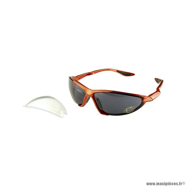 Lunette vélo (verres interchangeables miroir/transparent) monture orange marque Atoo - Matériel pour Vélo