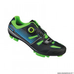 Chaussures vélo VTT marque Exustar sm3136 taille 41 couleur noir/vert/bleu système lacage boa+velcro