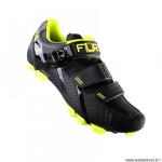 Chaussures vélo VTT marque FLR elite f65 taille 46 couleur noir/jaune 2 bandes auto agrippantes + clic
