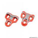 Cale-pédales route marque Atoo type look keo mobile 6 degrés couleur rouge renfort antiglisse