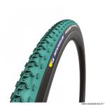 Pneu cyclocross/gravel/VTC 700x33 tringle souple marque Michelin power jet couleur vert (33-622)