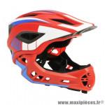 Casque vélo bmx integral ikon taille 53/58 couleur rouge-bleu-blanc avec mentonniere détachable - conforme en078 marque Kiddimoto