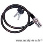 Antivol vélo câble a clé 0,65m x 8mm (3 clés plates métal) marque WTP - Accessoire vélo