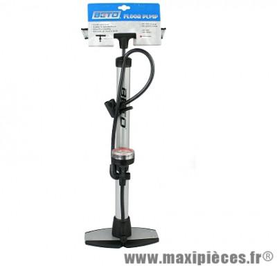 Pompe a pied mano haute résistance base acier double tête shrader & presta marque Beto - Accessoire vélo