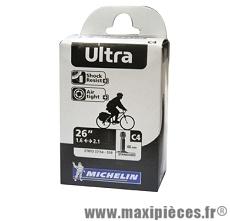 Chambre à air de 26 pouces x 1,6/2,10 c4 ultra standard valve 48mm marque Michelin - Pièce vélo