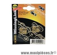 Attache rapide 10 vitesses or (x2) marque KMC - Matériel pour Vélo