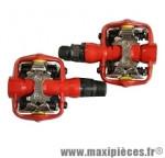 Pédales VTT automatique rouge compatible shimano spd 370 grammes marque Leader - Pièce vélo