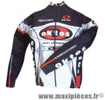 Maillot manches longues noir/rouge/blanc s marque Oktos- Equipement cycle