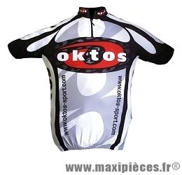 Maillot manches courtes noir/rouge/blanc s marque Oktos- Equipement cycle