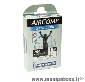 Chambre à air dimensions 700 x 18/23 a1 ultra light presta (valve 60mm) marque Michelin - Pièce vélo
