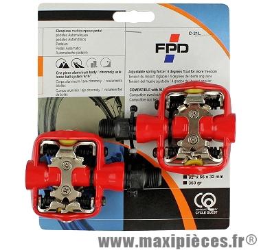 Pédales VTT automatique rouge compatible spd 370 grammes marque Leader - Pièce vélo