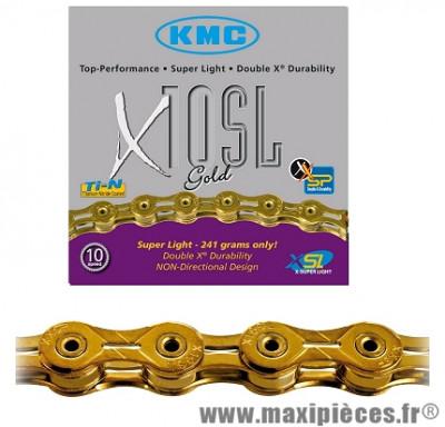 Chaîne de vélo à 10 vitesses x10sl or 112m 241 grammes marque KMC - Matériel pour Vélo