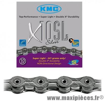 Chaîne de vélo à 10 vitesses x10sl argent 112m 241 grammes marque KMC - Matériel pour Vélo