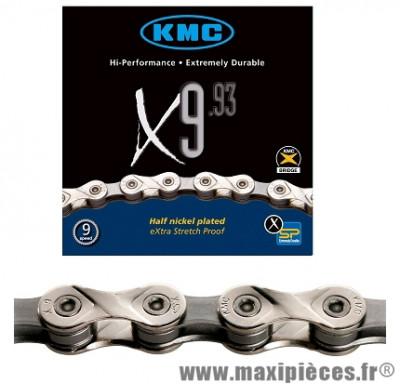 Chaîne de vélo à 9 vitesses x9-93 argent 297 grammes 116m marque KMC - Matériel pour Vélo