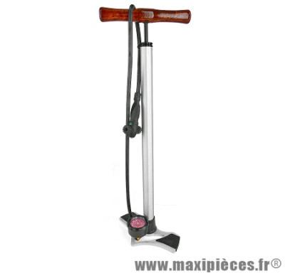 Pompe a pied mano corps & base alu poignée en bois vp/vs marque Giyo - Accessoire vélo