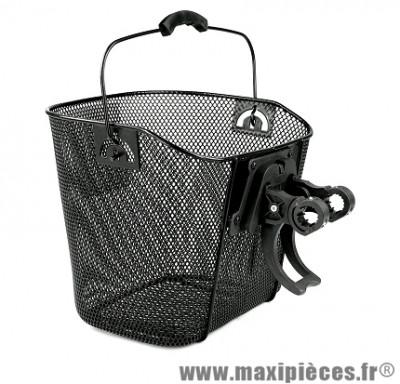 Panier avant métal noir clipsable (fixation automatique) - Accessoire Vélo Pas Cher