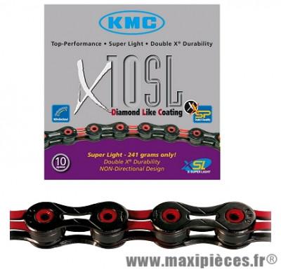 Chaîne de vélo à 10 vitesses x10sl noir/rouge 112m 241 grammes marque KMC - Matériel pour Vélo