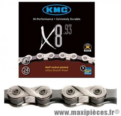 Chaîne de vélo à 8 vitesses x8-93 argent 116m marque KMC - Matériel pour Vélo