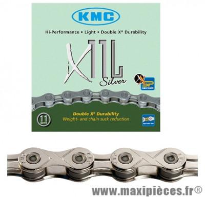 Chaîne de vélo à 11 vitesses x11l argent 112m marque KMC - Matériel pour Vélo