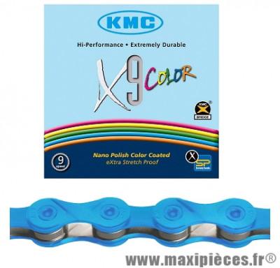 Chaîne de vélo à 9 vitesses x9 bleu 116m marque KMC - Matériel pour Vélo
