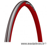 Pneu de vélo Michelin Dynamic Sport 700x23C (ETRTO 23-622) noir et flanc rouge tringle rigide