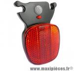 Réflecteur arrière + 1 led (on-off-flash) fixation sur rail de selle marque Herrmans - Matériel pour Vélo