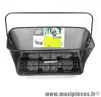 Panier arrière métallique noir fixation porte bagages marque Basil - Matériel pour Vélo