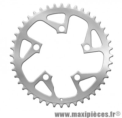 Plateau 44 dents compact diamètre 94mm argent 5 branches (extérieur) marque Spécialités TA - Pièce vélo