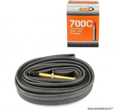 Chambre à air dimensions 700 x 18/25 presta (valve 60mm) marque CST - Pièce vélo