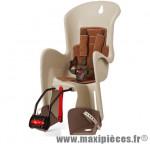 Porte bébé arrière bilby crème marron fixation porte bagage marque Polisport - Accessoire vélo