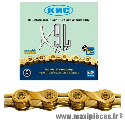 Chaîne de vélo à 9 vitesses x9l-ti or 116m 292 grammes marque KMC - Matériel pour Vélo