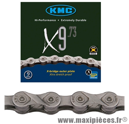 Chaîne de vélo à 9 vitesses x9-73 argent 116m marque KMC - Matériel pour Vélo