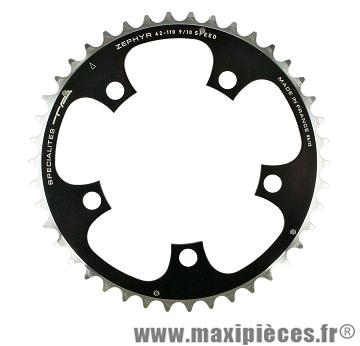 Plateau 50 dents zephyr diamètre 110mm noir 5 branches (extérieur) marque Spécialités TA - Pièce vélo