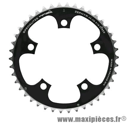 Plateau 42 dents chinook diamètre 104mm argent 4 branches (extérieur) marque Spécialités TA - Pièce vélo