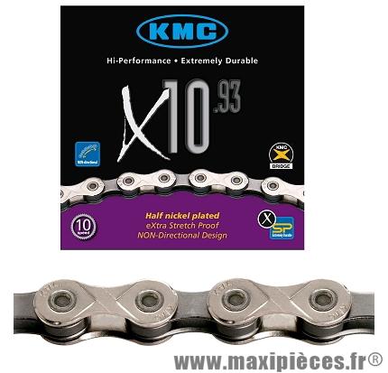 Chaîne de vélo à 10 vitesses x10-93 argent 270 grammes112m marque KMC - Matériel pour Vélo
