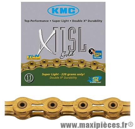 Chaîne de vélo à 11 vitesses x11sl-ti-n or super léger 112m 228 grammes marque KMC