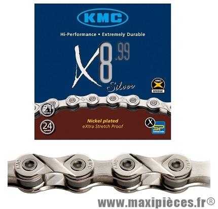 Chaîne de vélo à 8 vitesses x8-99 argent 116m marque KMC - Matériel pour Vélo