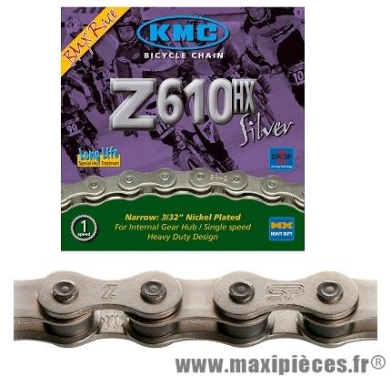 Chaîne de vélo BMX z610hx argent 1/2 x 3/32ème 112 maillons marque KMC - Matériel pour Vélo