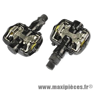 Pédales VTT automatique noir compatible shimano spd 370 grammes marque Leader - Pièce vélo