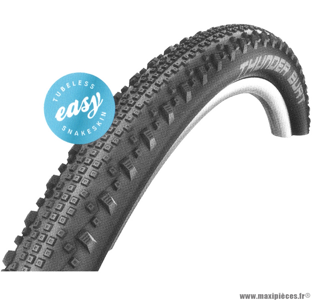 Pneu vélo de dimension 27,5 x 2,25 tubeless thunder burt tringle souple marque Schwalbe