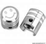 Bouchon valve schrader piston couleur argent (la paire) marque WTP - Pièce vélo