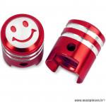 Bouchon valve schrader piston couleur rouge (la paire) marque WTP - Pièce vélo