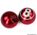 Bouchon valve schrader boule billard n°8 couleur rouge (la paire) marque WTP - Pièce vélo