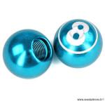 Bouchon valve schrader boule billard n°8 couleur bleu (la paire) marque WTP - Pièce vélo