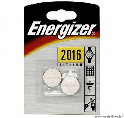 Pile cr2016 lithium energizer 3 volts (blister de 2) - Accessoire Vélo Pas Cher