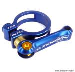 Collier de selle blocage rapide diamètre 31,8mm bleu 24 grammes marque Token - Pièce vélo