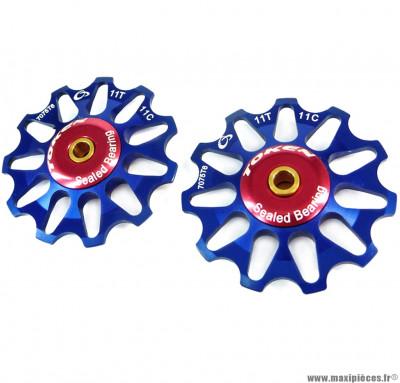 Galets de dérailleur 11 dents compatible shimano bleu (la paire) marque Token - Pièce vélo